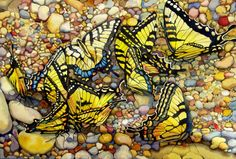 """""""Tiger Swallowtails"""" by featured artist Sharon Harms. She presents her #watercolor portfolio on www.ArtsyShark.com"""