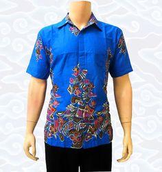 Kemeja batik modern biru