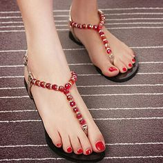 a9920b41ba20a1 Toe-Knob Flat Heel Beaded Beach Style Women s Sandals Comfortable Shoes on  buytrends.com