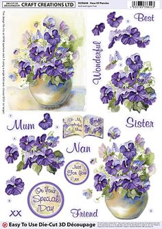 Shop for Craft Creations Die-cut Decoupage - Vase Of Pansies - - Step-by-step Layout - For Birthday, Anniversary, Etc. Starting from Compare live & historic paper product prices. Decoupage Printables, 3d Sheets, Wire Jewelry Designs, 3d Cards, Rice Paper, Flower Cards, Vintage Flowers, Pansies, Paper Dolls