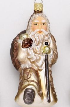 Inge-glas Woodlands Collection Woodlands Nikolaus #ChristmasOrnament at Copper Strawberry.  http://www.copperstrawberry.com/european-furniture/inge-glas-christmas-ornaments-holiday/inge-glas-ornaments-by-color-silver-gold-earth-tone-vibrant-pastel/inge-glas-silver-gold-ornaments/catalog/inge-glas-woodlands-santa-ornament-nikolaus. Inge-glas ornaments made in Germany. http://www.copperstrawberry.com/european-furniture/inge-glas-christmas-ornaments-holiday  #IngeGlas #TreeOrnament…