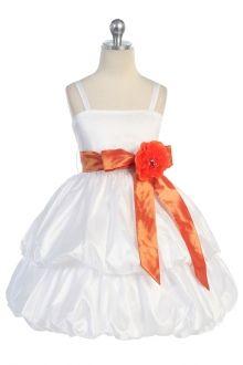 White/Orange Taffeta Flower Girl & Jr. Bridesmaid Dress