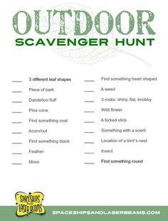 Kids Scavenger Hunt Free Printable: