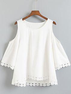 Shop White Dip Hem Cold Shoulder Embroidery Blouse online. SheIn offers White Dip Hem Cold Shoulder Embroidery Blouse & more to fit your fashionable needs.