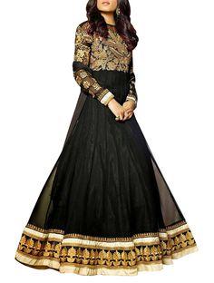 Aesthetic Black Embroidered Floor Length Anarkali Suit
