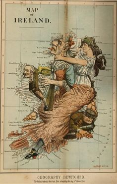 [Ireland & England]. Tom Merry. 2 Color Lithographs, humorous pair of lithographed Mercatur projections of Ireland and England, with Ireland...(love this style!!)
