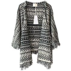 Monochrome Pattern Cardigan with Fringe Trim ($40) ❤ liked on Polyvore featuring tops, cardigans, outerwear, jackets, chicnova, print cardigan, striped open front cardigan, lightweight open front cardigan, fringe top and lightweight cardigan