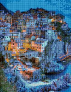 Cinque Terre Italy - Italian Riviera - Cross Stitch pattern PDF - Instant Download! by PenumbraCharts on Etsy