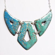Large bib necklace, statement jewelry, ombre turquoise aqua mint geometric breastplate, enamel jewelry