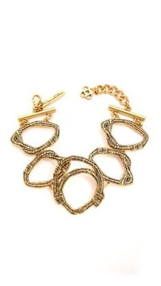 Authentic Oscar De La Renta 3 Circle Russian Gold Bracelet - http://elegant.designerjewelrygalleria.com/oscar-de-la-renta/authentic-oscar-de-la-renta-3-circle-russian-gold-bracelet/