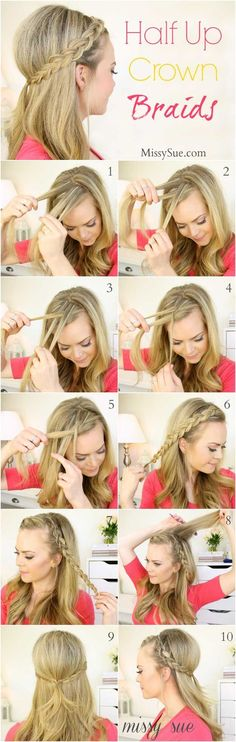 Quick And Easy Hairstyles For School : Amazing Half Up-Half Down Hairstyles For Long Hair  Half Up Dutch Braids  Easy