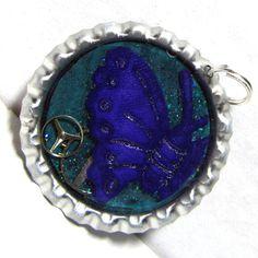 Steampunk Purple Butterfly Bottlecap Resin by ElementalKarma, $8.00
