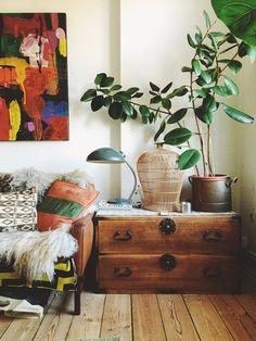 大きな観葉植物をど〜んと飾るのも定番です。リビングにグリーンがあることによって、みんなが寛ぎ和やかになれるからです。目でいつでもグリーンを愛でていたいから♩