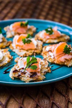 Smoked Salmon Rosti - a crunchy potato rosti, topped with cream cheese, a ribbon of smoked salmon and drizzled with balsamic glaze.