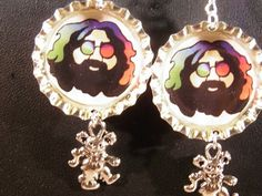 Hand Crafted Grateful Dead Earrings Pewter Dancing Bear Charms Hippie Style Tye Dye Further Jerry Garcia by MelancholyMind on Etsy