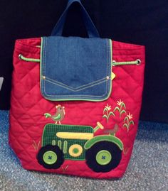Personalized Stephen Joseph quilted Tractor theme backpack. $24.00, via Etsy. Tractor Quilt, Tractors, School Ideas, Joseph, Diaper Bag, Quilting, Backpacks, Trending Outfits, Unique Jewelry