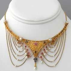 Antique Victorian Gold Italian Ruby, Sapphire, and Pearl Filigree Choker Necklace