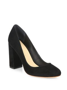 - Chunky block heel lifts classic suede round-toe pump- Self-covered block heel, Suede upper- Round toe- Leather lining and sole- Imported Black Pumps Heels, Suede Pumps, Walking Tall, Designer Pumps, Italian Shoes, Cute Heels, Round Toe Pumps, Chunky Heels, Leather Shoes