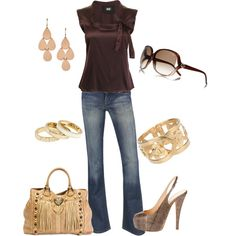"""""""Brown & Gold"""" by verydefinitely on Polyvore"""
