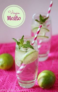 A simple virgin mojito recipe. A non-alcoholic drink everyone enjoys! Great idea for baby showers!