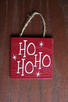 Decorative Wooden Christmas sign Ho Ho Ho Red sign by JonAshley, $8.00