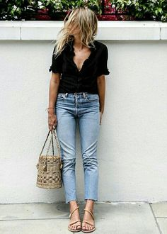 Classy. Jeans and black.