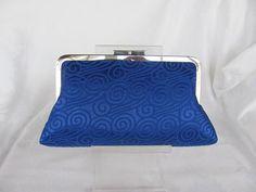 Cobalt blue scrolls brocade clutch purse/ Bridal by jemdesign567, $40.00