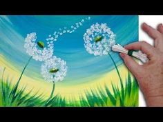 Dandelion Cotton Swabs Painting Technique for BEGINNERS EASY Acrylic Painting - YouTube