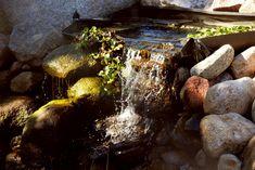 Водопад на участке - самый лучший способ избавиться от стресса, расслабиться и забыть о проблемах, созерцая пруд и впадающий в него водный поток.