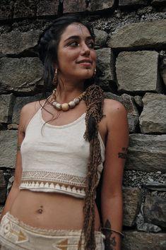 Top Bra Native American Style original print Made of Organic Hemp cotton Cream…