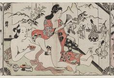 The handscroll numbered to contains: Set of eleven hand-colored horizontal ôban prints by Sugimura Jihei; the print numbered 8 in the Izzard catalogu … Japanese Geisha, Vintage Japanese, Museum Of Fine Arts, Art Museum, Japan Art, Woodblock Print, Erotic Art, Fantasy Art, Drawings