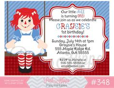 Raggedy Ann Doll348 PRINTABLE INVITATION by PinkHippoPartyShop, $11.00 Happy Birthday Girls, 1st Birthday Parties, Girl Birthday, Birthday Ideas, Printable Invitations, Party Printables, Free Thank You Cards, Raggedy Ann And Andy, Nautical Baby
