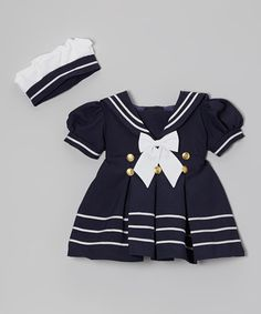 Love this Navy & White Sailor Dress & Hat - Infant, Toddler & Girls by Fouger for Kids on #zulily! #zulilyfinds