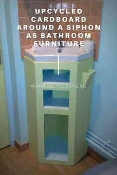 This original bathroom furniture is made of recycled cardboard, it … Upcycled Cardboard around a Siphon as Bathroom Furniture Read Office Bathroom, Diy Bathroom Decor, Bathroom Shelves, Bathroom Furniture, Small Bathroom, Diy Home Decor, Bathroom Cabinets, Cardboard Furniture, Diy Cardboard