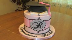 Rachels Grad Cake - Inspired by JessieCakes. Red Velvet with cream cheese SMBC filling. Lettering done with Sillouette.