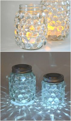 These solar mason jar luminaries are super easy to make and pretty to boot! Just use simple supplies from the craft store. #easymasonjar #masonjars