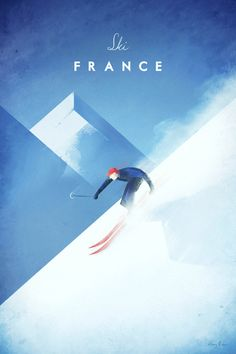Vintage Ski France Poster by Henry Rivers | Prints of this illustration available from Travel Poster Co.