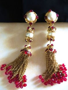 Chanel 97A Full Gripoix  20-tassel pearl Glass    extra long earrings.  From private collection