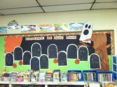 """Graveyard of Dead Words.. Students wrote dead words on black construction paper in white crayon.. Dead word is """"survived by"""" better synonyms :)"""