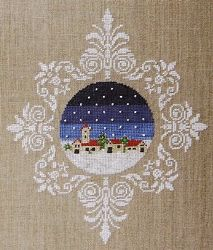 Love the way it is framed with motifs. Blu Cobalto - Village - Cross Stitch Pattern