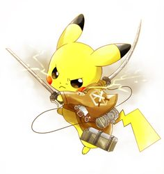 Pikachu looks super cute in the uniform! But wouldn't attack ON Pokemon mean the Pikachu would be killing other Pokemon? Manga Anime, Art Anime, Fanarts Anime, Anime Characters, Pokemon Cosplay, Cosplay Anime, Mega Pokemon, Cute Pokemon, Awesome Anime
