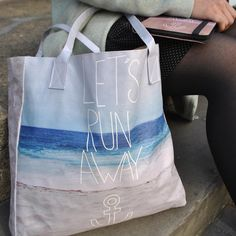 'Let's Run Away' Vegan leather tote bag and iPad mini case. The perfect holiday essentials this summer. Designed by @leahmarieflores.