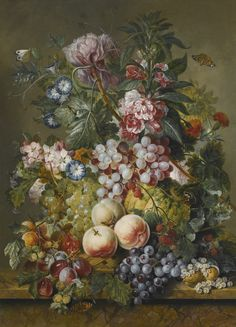 Jacobus Linthorst AMSTERDAM 1745 - 1815 A STILL LIFE OF FRUIT AND FLOWERS, INCLUDING PEACHES, GRAPES, PLUMS, CURRANTS, MELON AND PEONIES, CONVOLVULI AND BLOSSOM ALL IN A BASKET ON A MARBLE LEDGE signed and dated lower right.: J. Linthorst 1809 oil on panel