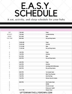 E.A.S.Y. Schedule for Newborns | Houston Lifestyle blogger Uptown with Elly Brown shares her sleep schedule along with a printable PDF