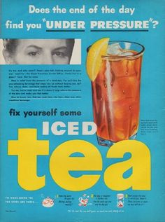 "Description: 1950 TEA COUNCIL vintage print advertisement ""Under Pressure"" ~ Does the end of the day find you ""Under Pressure""? It's hot, and who cares? Here's your tall, tinkling answer to summer. Iced Tea -- the Great American Cooler Off-er. Frosty fun in a glass? Sure. But far more ... fix yourself some Iced Tea ~"