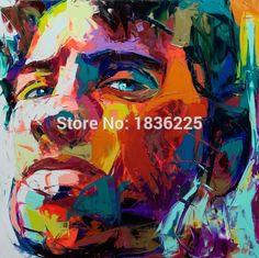 Françoise Nielly Pop 100% main peinture à l'huile Pop Art françoise Nielly homme visage moderne peinture abstraite sur toile pas.