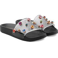 Sophia Webster Dina Embellished Slides (1 885 SEK) ❤ liked on Polyvore featuring shoes, black, sophia webster, embellished shoes, kohl shoes, black embellished shoes and black shoes