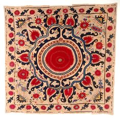 Center Medallion Suzani - Unusual suzani with a center medallion of abstracted red flower enclosed within four borders. The four corners feature triangular zoomorphic forms. Some more Botehs and flowers scattered in the field. The border plain and sparse. Uzbekistan, late 19th c