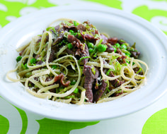 Welsh Lamb linguini with peas and leeks