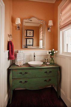 powder room. Green & Peach.